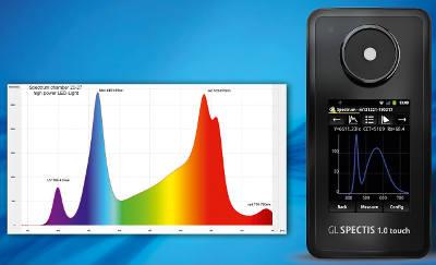 Espectrómetro inteligente que mide la densidad de flujo de fotones